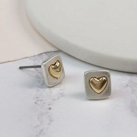 POM Silver Plated Square Earrings with Golden Heart Inset